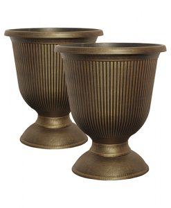 Pair Vertical Urns black bronze