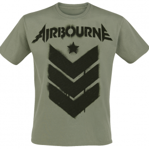 Airbourne - Stencil Stripes - T-Shirt - olive product image at Soundorabilia.com