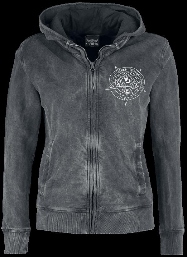 Alchemy England - Moon Good & Evil Magic Day - Girls hooded zip - dark grey product image at Soundorabilia.com