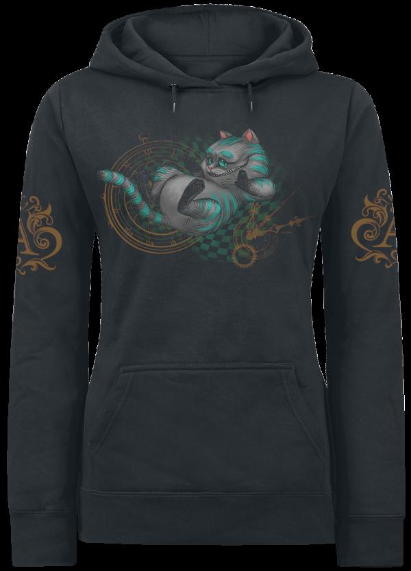 Alice in Wonderland - Cheshire Cat - About Time - Girls hooded sweatshirt - black product image at Soundorabilia.com