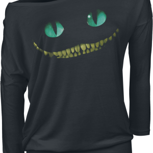 Alice in Wonderland - Cheshire Cat - Smile - Girls longsleeve - black product image at Soundorabilia.com