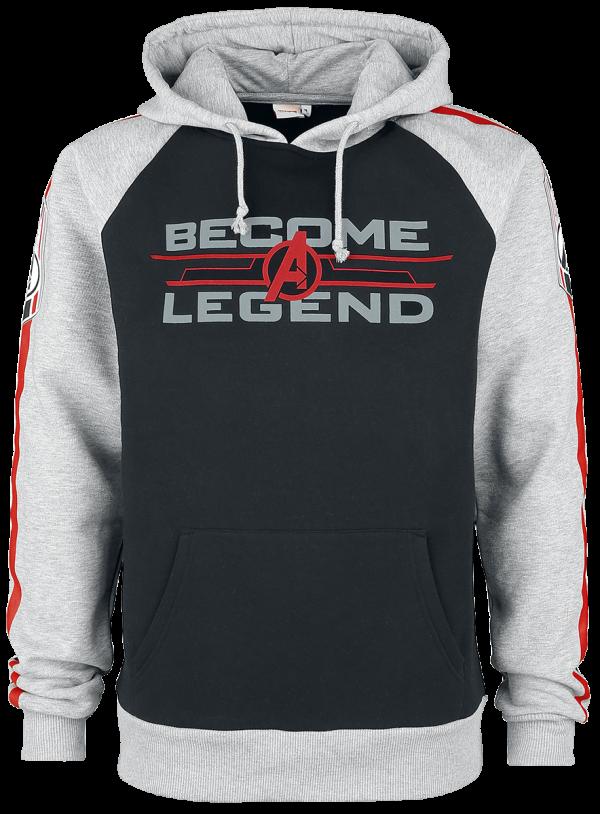Avengers - Become A Legend - Hooded sweatshirt - black/mottled grey product image at Soundorabilia.com