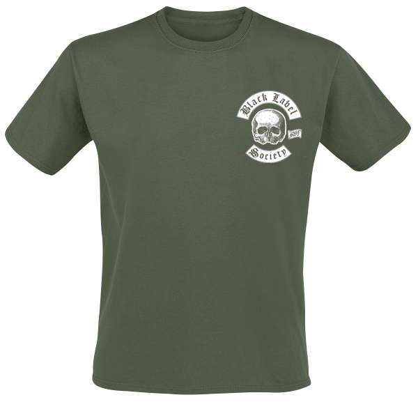 Black Label Society - Skull LogoPocket - T-Shirt - olive product image at Soundorabilia.com