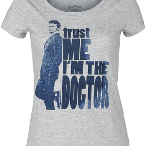 Doctor Who - Trust Me I'm The Doctor - Girls shirt - mottled grey product image at Soundorabilia.com