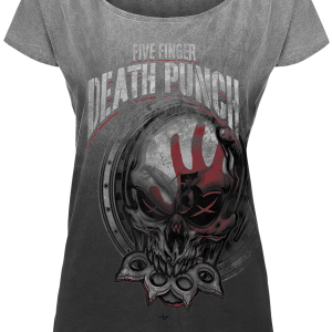 Five Finger Death Punch - Death Punch - Girls shirt - light grey-dark grey product image at Soundorabilia.com