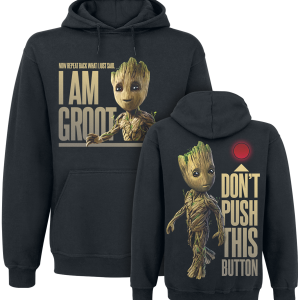 Guardians Of The Galaxy - 2 - Groot - Button - Hooded sweatshirt - black product image at Soundorabilia.com