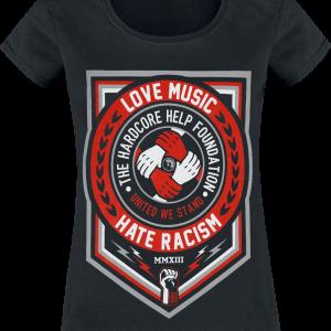 Hardcore Help Foundation - Love Music - Girls shirt - black product image at Soundorabilia.com