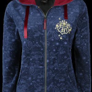 Harry Potter - Hogwarts Crest - Girls hooded zip - dark blue product image at Soundorabilia.com