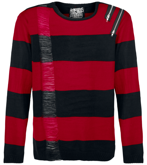Heartless - Drop Dead - Knit sweater - black-red product image at Soundorabilia.com