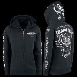 Motörhead - England - Girls hooded zip - black product image at Soundorabilia.com