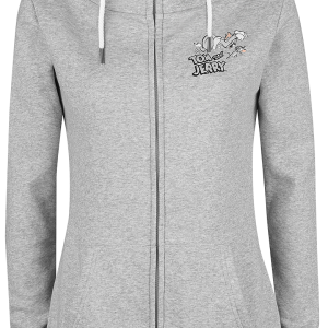 Tom and Jerry - Always Hungry - Girls hooded zip - mottled light grey product image at Soundorabilia.com