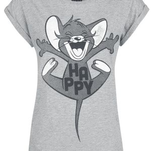Tom and Jerry - Happy - Girls shirt - mottled grey product image at Soundorabilia.com