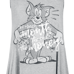 Tom and Jerry - Too Much Month - Girls Top - mottled light grey/mottled dark grey product image at Soundorabilia.com
