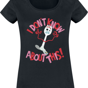 Toy Story - 4 - Forky - I Don't Know About This! - Girls shirt - black product image at Soundorabilia.com