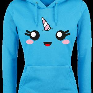 Unicorn - Unicorn Face - Girls hooded sweatshirt - blue product image at Soundorabilia.com