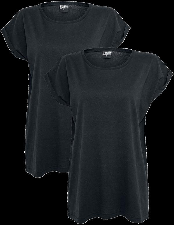 Urban Classics - Ladies Extended Shoulder Tee 2 Pack - Girls shirt - black product image at Soundorabilia.com