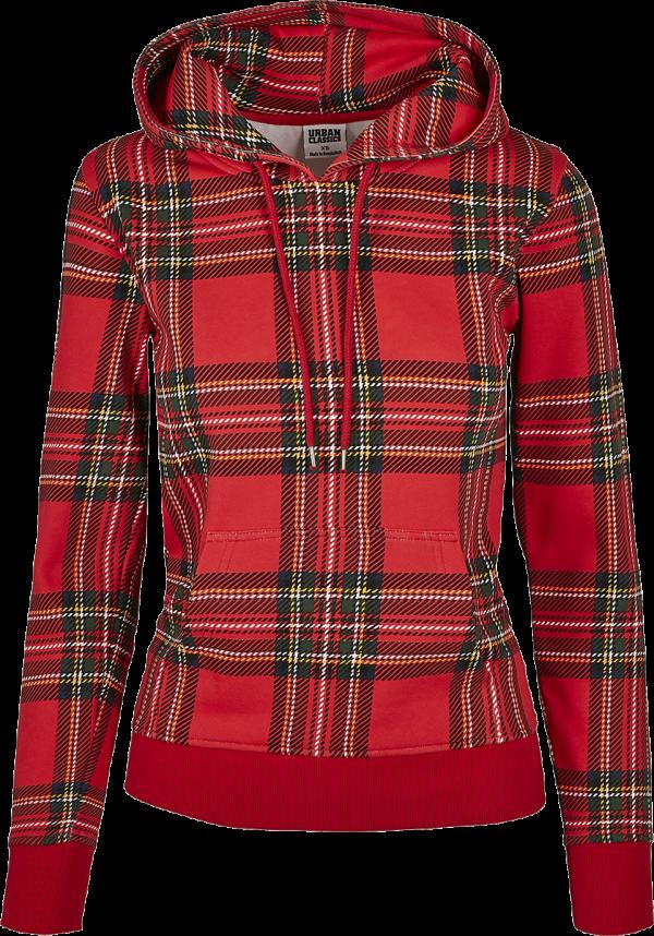 Urban Classics - Ladies Tartan Hoody - Girls hooded sweatshirt - red-black product image at Soundorabilia.com