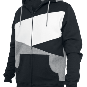 Urban Classics - Zig Zag Zip Hoodie - Hooded zip - black-grey-white product image at Soundorabilia.com