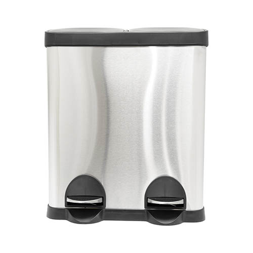 30L Stainless Steel Kitchen Recycle Pedal Bin 2 Compartments YouGarden