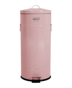 30L Retro Steel Round Kitchen Pedal Bin - Pink