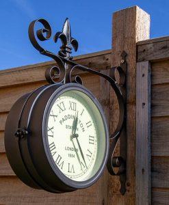 Charles Bentley Black Paddington Double Sided Faced Metal Wall Clock