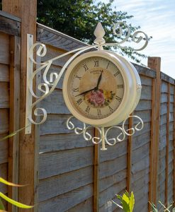 Charles Bentley Cream Vintage 37cm Double Sided Metal Bracket Wall Clock