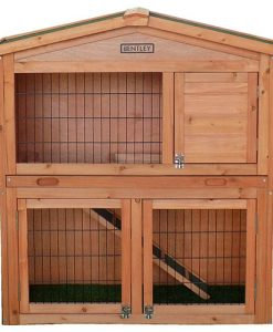 Charles Bentley Pets Large Wooden Rabbit Guinea Pig Hutch 2 Tier House Built In
