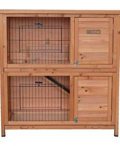 Charles Bentley Two Storey Wooden Rabbit  Guinea Pig Hutch With Ramp