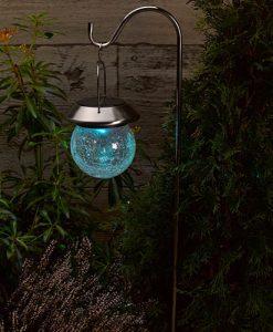 Hanging Solar Crackle Globe Lantern 2pk-   1011750RB