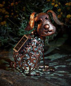 Metal Solar Silhouette Dog Light 1050111