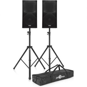 QSC KW122 Active PA Speakers with Stands at Gear 4 Music Image