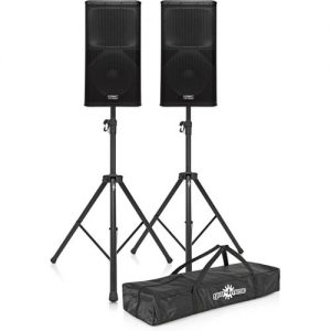 QSC KW152 Active PA Speakers with Stands at Gear 4 Music Image