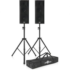 QSC KW153 Active PA Speakers with Stands at Gear 4 Music Image
