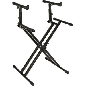 Quiklok QL742 Heavy Duty Double Braced Two-Tier Keyboard Stand Black at Gear 4 Music Image