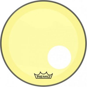 Remo Powerstroke 3 Colortone Yellow 26 Ported Bass Drum Head at Gear 4 Music Image