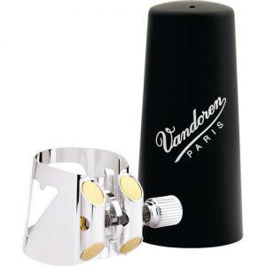 Vandoren Optimum Alto Clarinet Ligature Silver with Plastic Cap at Gear 4 Music Image
