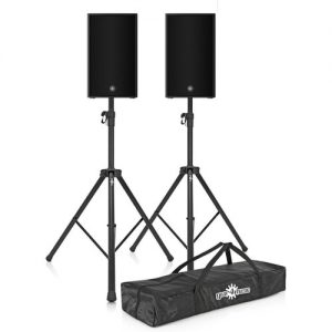 Yamaha DZR10 10 Active PA Speaker Pair with Stands at Gear 4 Music Image
