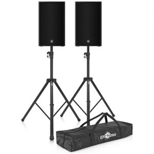 Yamaha DZR12-D Dante 12 Active PA Speaker Pair with Stands at Gear 4 Music Image