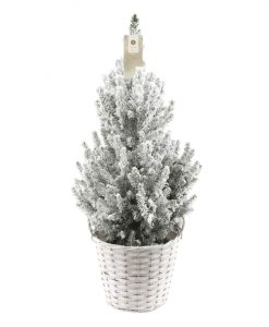 Contemporary Christmas Tree - 70-80cm Snowy Effect in White Planter Basket