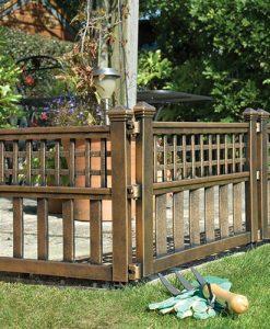 Pk of 4 Plastic Fence Panels in Bronze