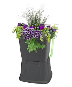 1-Tier 67 Litre Rainwater Terrace In Black With Black Side Planters