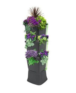 3-Tier 200 Litre Rainwater Terrace In Black With Black Side Planters