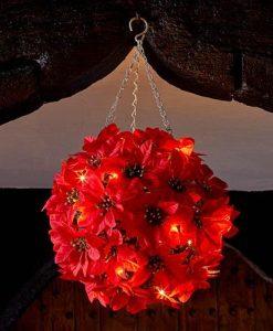 30cm Inlit Poinsettia Ball