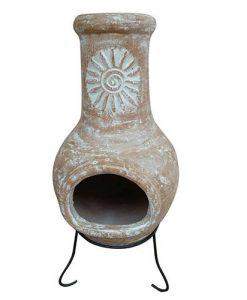 Charles Bentley Medium Natural Clay Chimenea Sun Design
