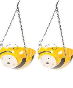 Pair of Bumblebee Wobblehead Hanging Baskets